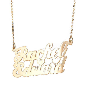 "Personalized .925 Sterling Silver ""Carrie"" Script Lover's Nameplate Plated in 14K Gold w. Chain - Betterjewelry"