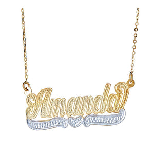 Personalized .925 Sterling Silver Plated in 14K Gold Dotted Heart Classic Nameplate w. Chain - Betterjewelry