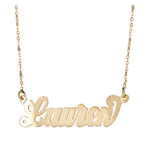 "Personalized 14K Gold Plated .925 Sterling Silver ""Carrie"" Script Nameplate (MADE IN USA) - Betterjewelry"