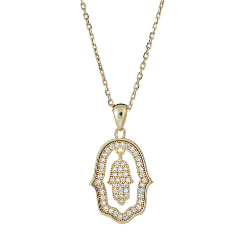 CZ Stone Dangling Hamsa Pendant .925 Sterling Silver Plated w. 14K Yellow Gold Rolo Chain Set