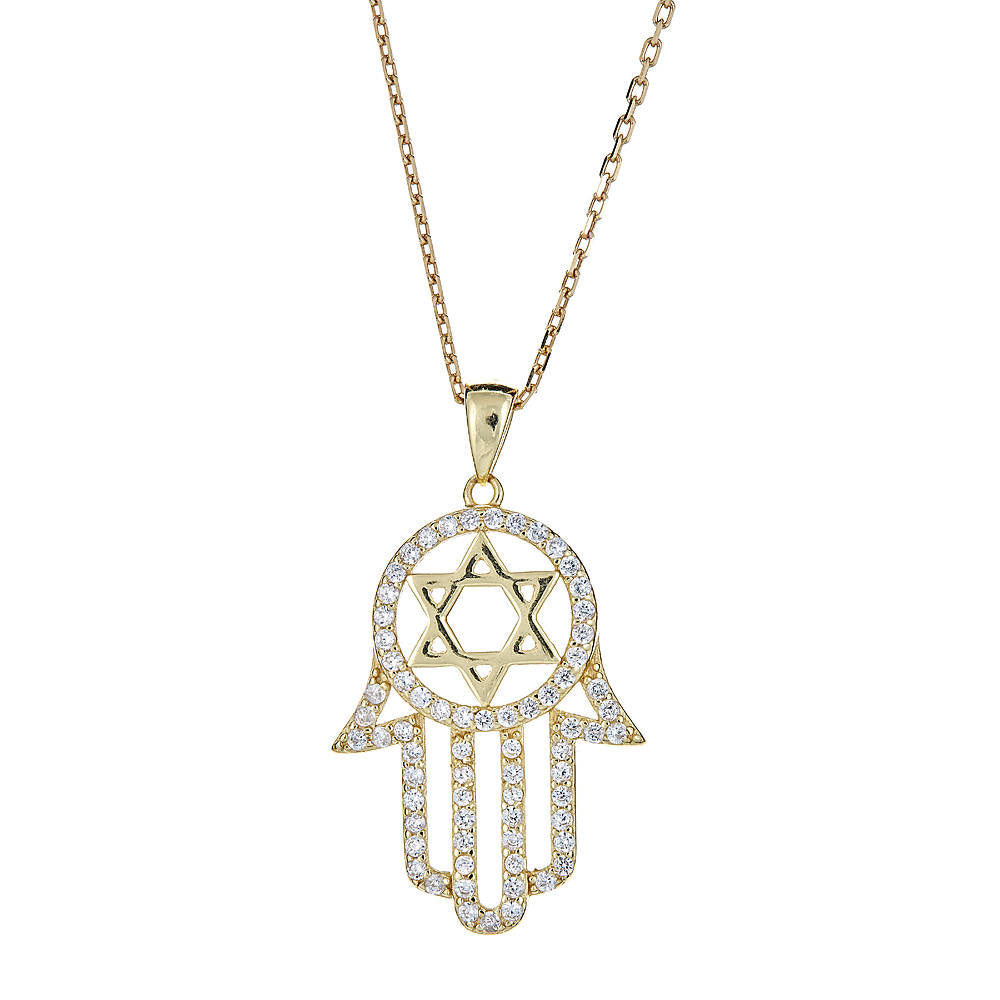 CZ Stone Hamsa Hand & Star of David .925 Sterling Silver Plated in 14K Gold Pendant w. Rolo Chain - Betterjewelry