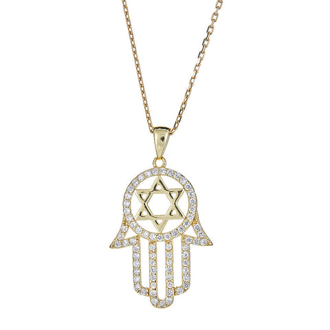CZ Stone Hamsa Hand & Star of David .925 Sterling Silver Plated in 14K Gold Pendant w. Rolo Chain