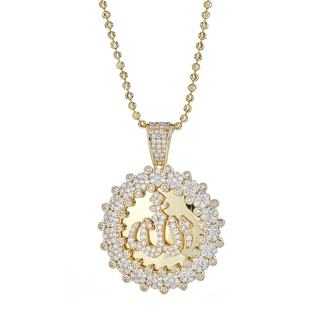 14K Gold Plated on .925 Sterling Silver Set w. Round Islam Allah CZ Pendant & Moon Cut Chain - Betterjewelry