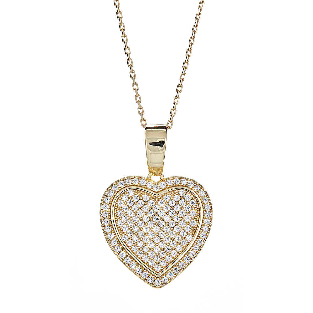 CZ Stone Gilded Heart 14K Gold Plated on .925 Sterling Silver Pendant & Rolo Chain Set - Betterjewelry