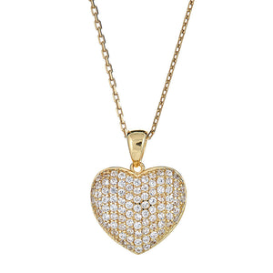 Classic Heart Pendant .925 Sterling Silver CZ Stone Pendant Set w. Rolo Chain - Plated in 14K Gold - Betterjewelry