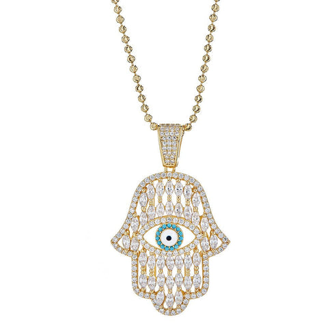 Fancy CZ Hamsa Hand & Evil Eye Pendant w. Moon Cut Chain .925 Sterling Silver Plated in Gold - Betterjewelry