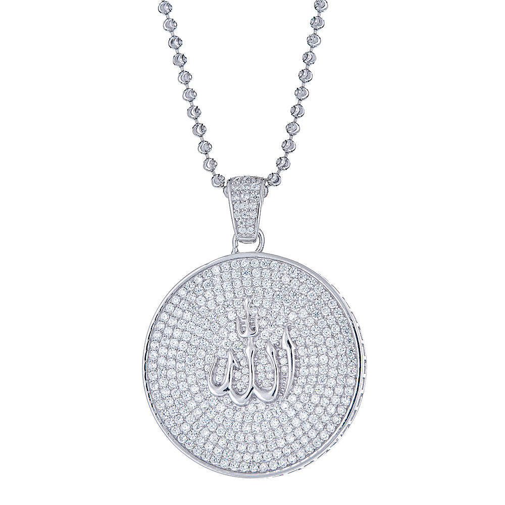 Round Micro Pave Islam Allah Pendant .925 Sterling Silver CZ Set with Moon Cut Chain - Betterjewelry