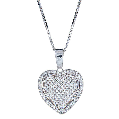 CZ Stone Gilded Heart .925 Sterling Silver Pendant & Rolo Chain Set - Betterjewelry