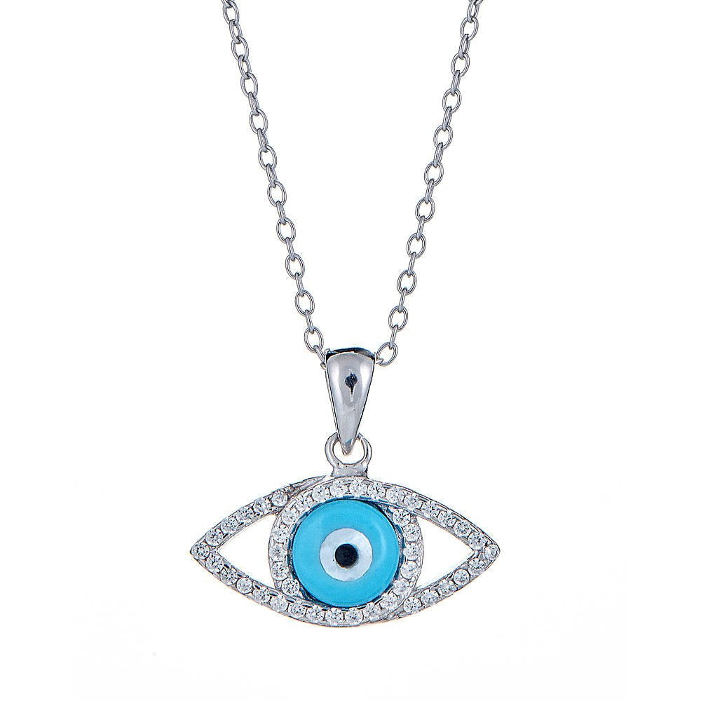 Light Blue Evil Eye Pendant  with Rolo Chain .925 Sterling Silver CZ Set - Betterjewelry