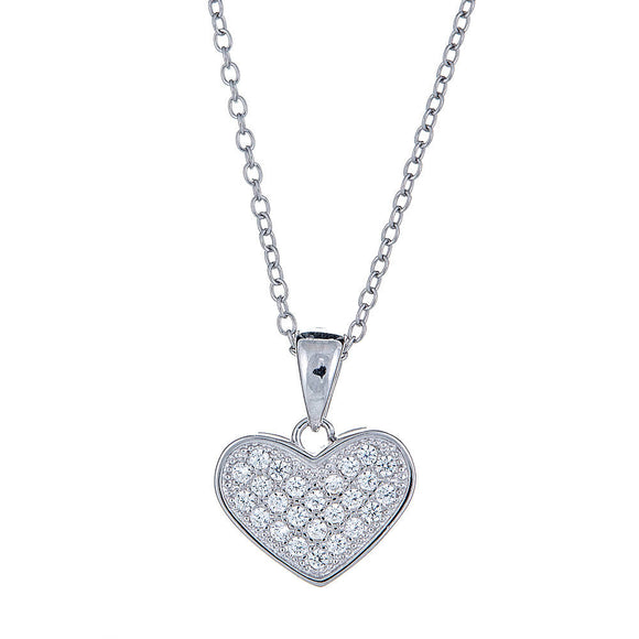 Tiny Heart  CZ Micro Pave Pendant .925 Sterling Silver with Rolo Chain Set