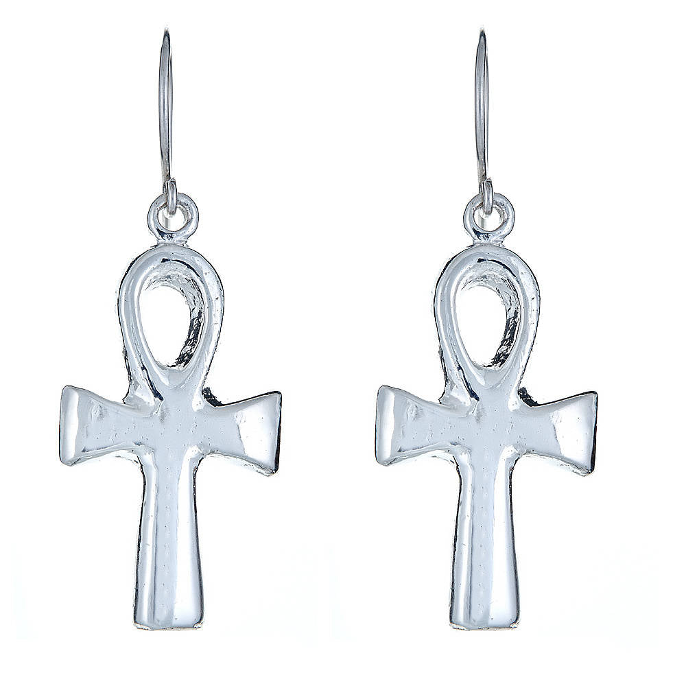 Solid .925 Sterling Silver Smooth Ankh Cross Earrings (Made in USA) - Betterjewelry