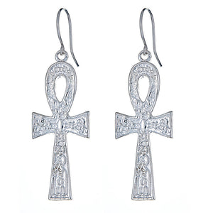 Solid .925 Sterling Silver Etched Ankh Cross Earrings (Made in USA) - Betterjewelry