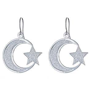 942752718 Solid .925 Sterling Silver Small Islamic Crescent Moon & Star Earrings  (Made in USA