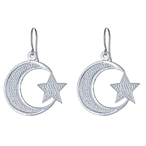 Solid .925 Sterling Silver Large Islamic Crescent Moon & Star Earrings (Made in USA)