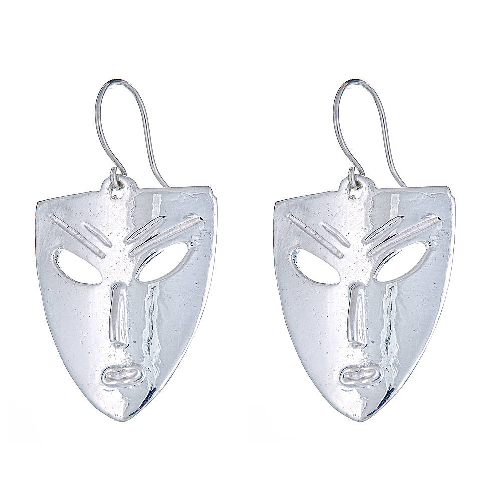 Solid .925 Sterling Silver African Mask Earrings (Made in USA) - Betterjewelry