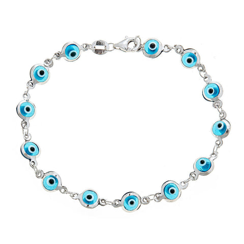Light Blue Evil Eye .925 Sterling Silver Bracelet - Betterjewelry