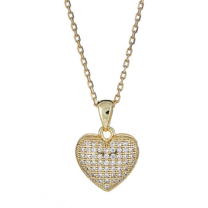 Dainty Heart CZ Pendant w. Rolo Chain 14K Yellow Gold Plated on .925 Sterling Silver Set - Betterjewelry