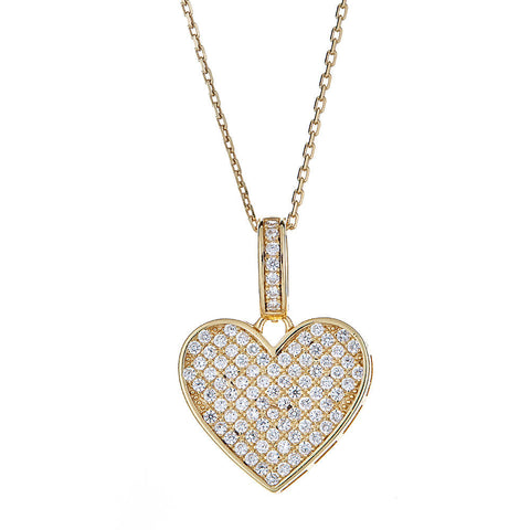 14K Gold Plated on .925 Sterling Silver CZ Sweetheart Pendant w.  Rolo Chain Set - Betterjewelry