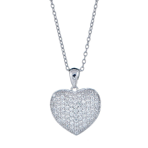 Small Heart CZ Stone .925 Sterling Silver Pendant with Rolo Chain Set - Betterjewelry