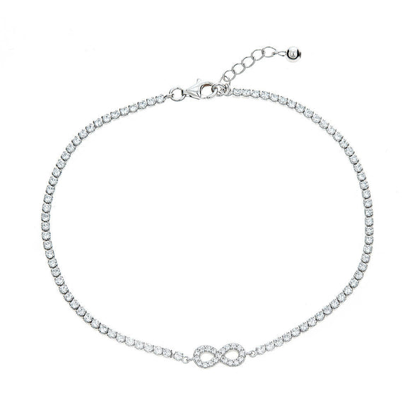 CZ Stone .925 Sterling Silver Infinity Symbol Anklet - Betterjewelry