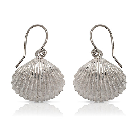 NEW .925 Sterling Silver Seashell Earrings (Made in USA) - Betterjewelry