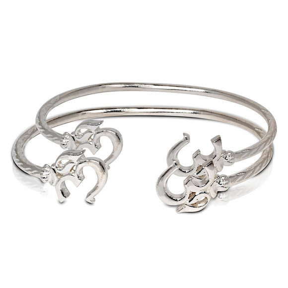Solid .925 Sterling Silver Om Symbol Bangles (Pair) (Made in USA) - Betterjewelry