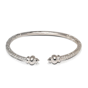 NEW Solid .925 Sterling Silver Round Bulb Bangle (Made in USA) - Betterjewelry