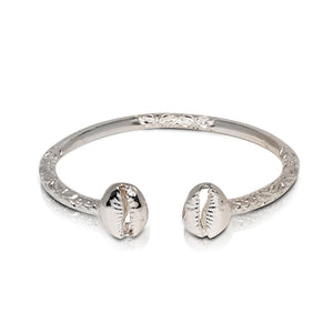 NEW Solid .925 Sterling Silver Cowrie Shell Bangle (Made in USA) - Betterjewelry