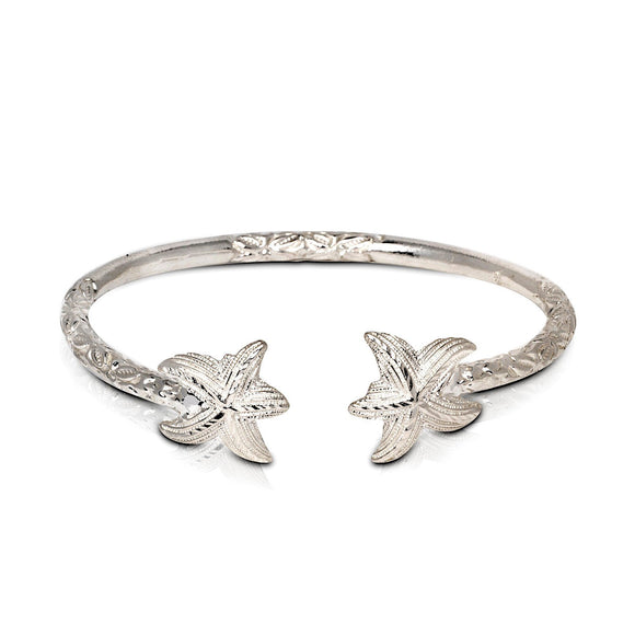 Solid .925 Sterling Silver Starfish Bangle (Made in USA) - Betterjewelry