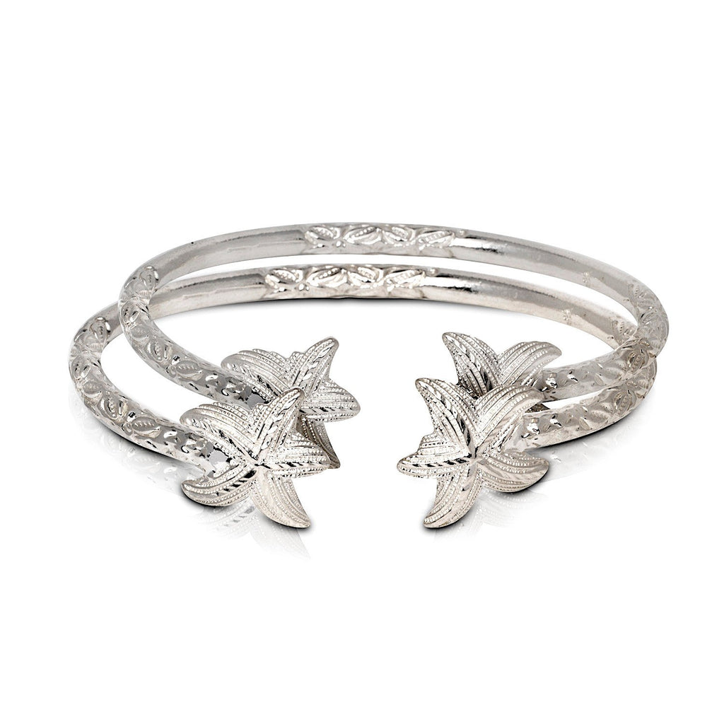 Solid .925 Sterling Silver Starfish Bangles (Pair) (Made in USA) - Betterjewelry