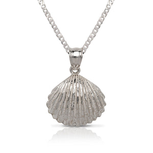 NEW! .925 Sterling Silver Seashell Pendant w. Cuban Chain Set - Betterjewelry