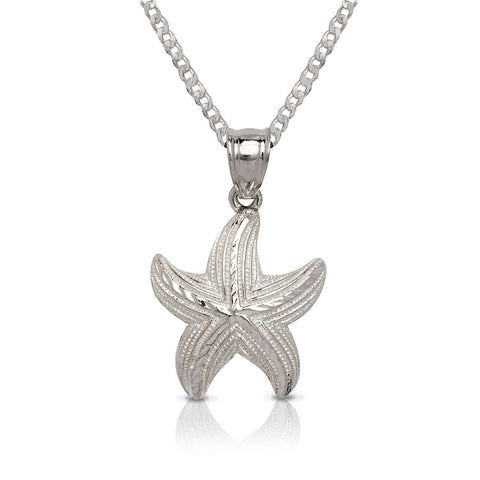 NEW .925 Sterling Silver Starfish Pendant w. Cuban Chain Set - Betterjewelry