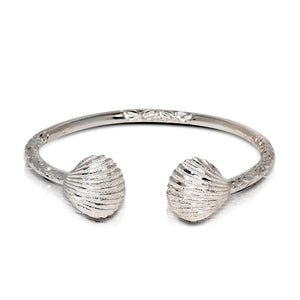 NEW Solid .925 Sterling Silver Seashell Bangle (Made in USA) - Betterjewelry