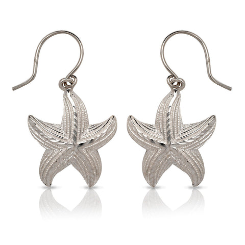 NEW  .925 Sterling Silver Starfish Earrings (Made In USA) - Betterjewelry