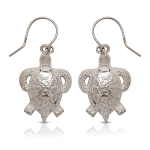 NEW  .925 Sterling Silver Sea Turtle Earrings (Made In USA) - Betterjewelry