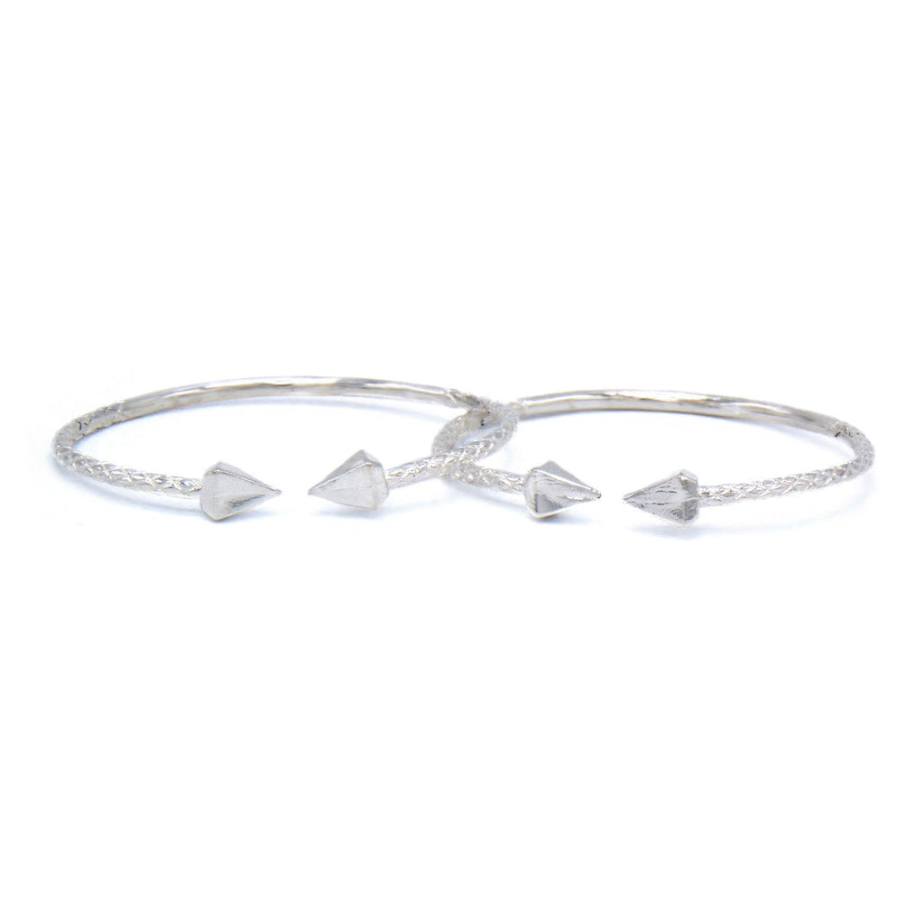 Large Pyramid Ends .925 Sterling Silver West Indian Bangles 55.0 Grams (Pair) - Betterjewelry