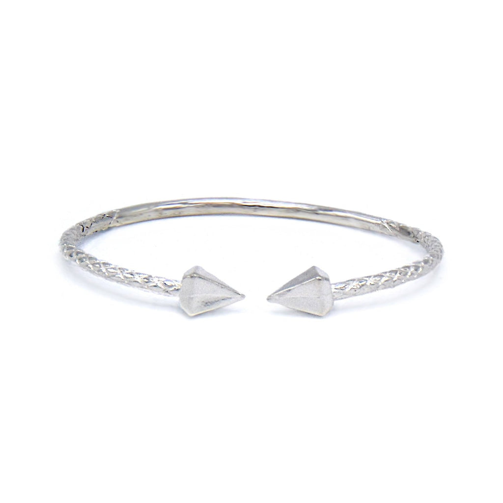 Large Pyramid Ends .925 Sterling Silver West Indian Bangle (MADE IN USA) - Betterjewelry