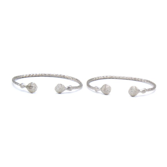 Solid .925 Sterling Silver Tiny Baby West Indian Bangles w. Shell Ends (Pair) - Betterjewelry