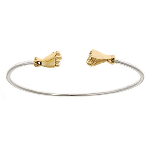 Fist .925 Sterling Silver w. Solid 14K Gold Ends .925 Sterling Silver West Indian Bangle (MADE IN USA) - Betterjewelry