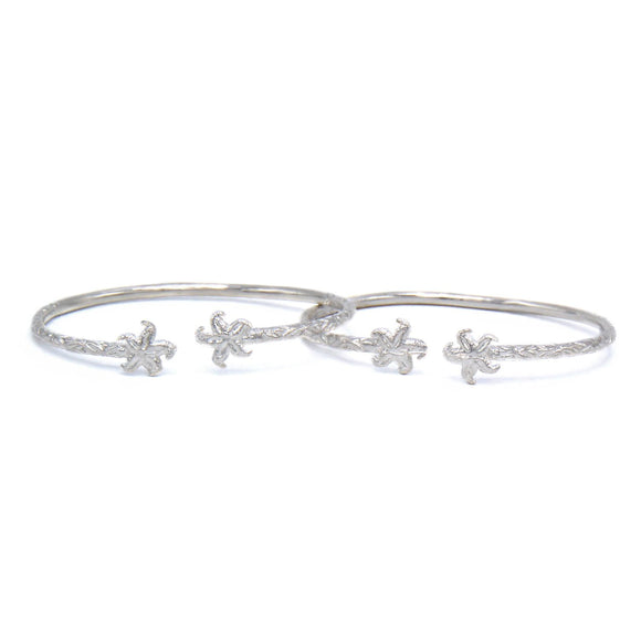 Small Starfish Solid .925 Sterling Silver West Indian Bangles (Pair) - Betterjewelry