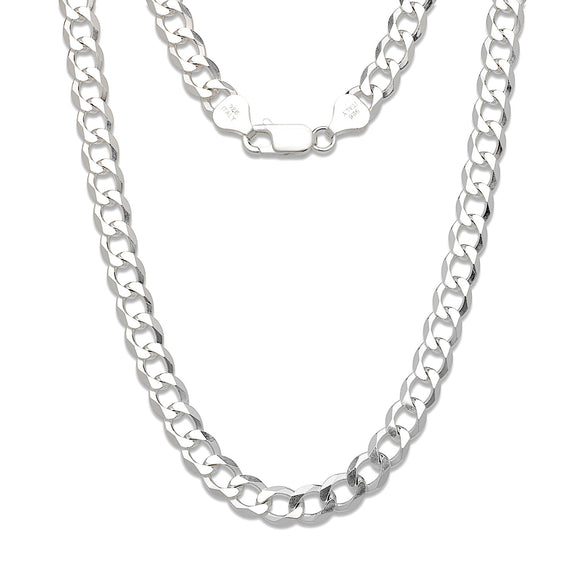 8mm Solid .925 Sterling Silver Cuban Chain
