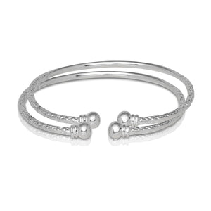 Ball w. Double Halo Ends .925 Sterling Silver West Indian Bangles
