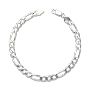 Solid 6mm .925 Sterling Silver Figaro Chain Bracelet