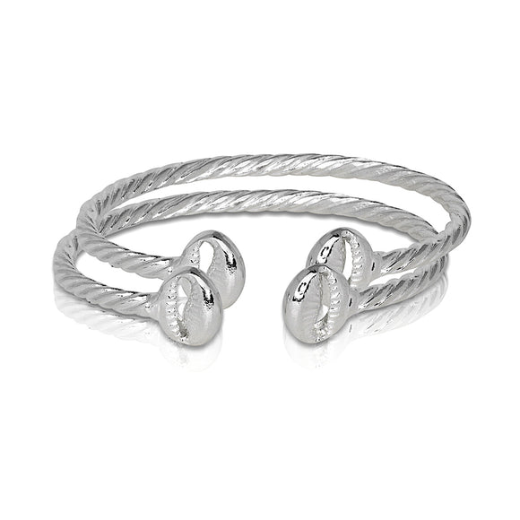 Solid .925 Sterling Silver Cowrie Shell Coiled Rope Bangles (Pair) (Made in USA)