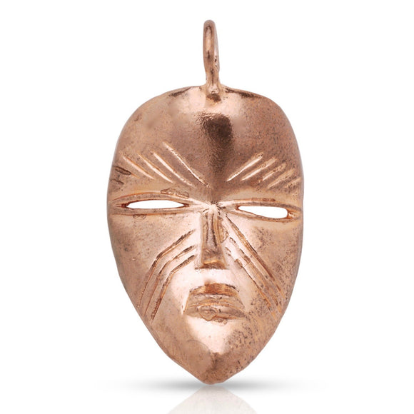 Copper African Mask Pendant