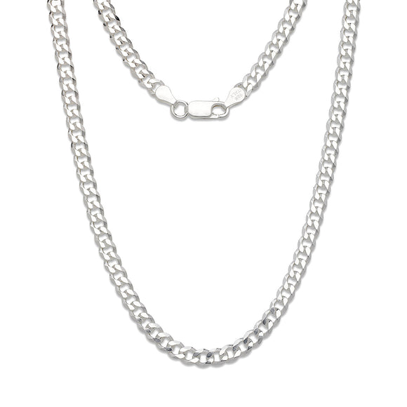 7mm Solid .925 Sterling Silver Cuban Chain
