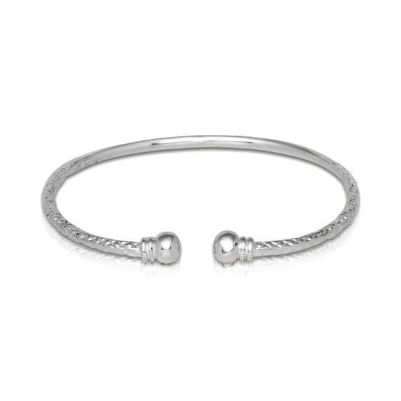 Double Halo .925 Sterling Silver West Indian Bangle