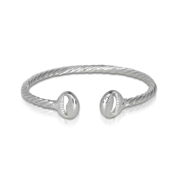 Solid .925 Sterling Silver Cowrie Shell Coiled Rope Bangle (Made in USA)