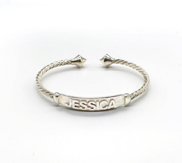 Personalized .925 Sterling Silver Nameplate Coiled Rope Bangle w. Thick Pyramid Ends (Made in USA)