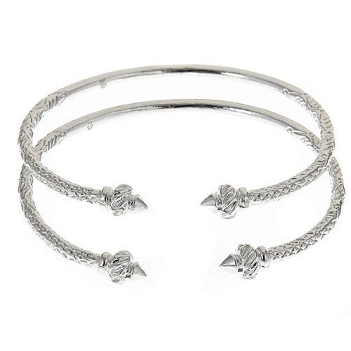 Thin Ridged Arrow .925 Sterling Silver West Indian Bangles (Pair 40g)